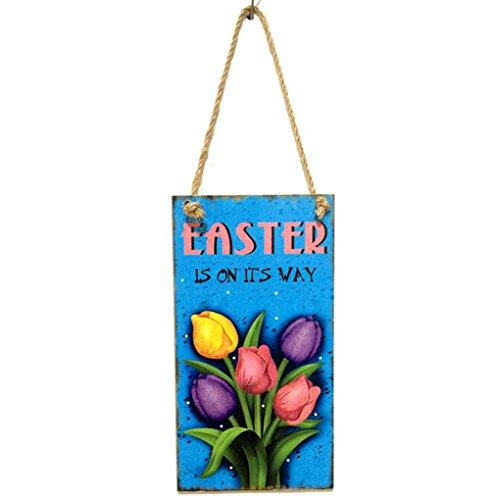 Sunlera Holz-Tulpe-Blumen-Brett-Wand-Dekor hängend Plaque dekorative Zeichen Aufhänger Anhänger Ostern Willkommen Frühling Plank (Dekorative Home-zeichen)