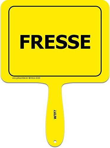 'Fresse' - Lustiges gelbes Kunststoffschild mit Griff - GELBE SCHILDER - DAS ORIGINAL