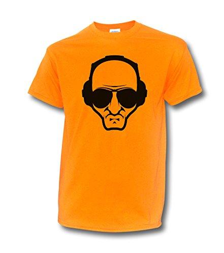 "NEON T-Shirt ""DEEJAY"" KOPFHÖRER TECHNO ELECTRO DJ UV SCHWARZLICHT DISCO Neonorange"