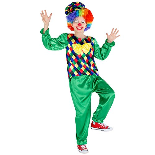 Satin Harlekin Maske (Jungenkostüm Clown Freddy | Oberteil mit aufgenähter Fliege | inkl. Schildkappe (5-6 Jahre | Nr)