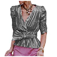 Suncolor8 Women Wrap V Neck Bow Tie Long Sleeve Sparkle Shimmer Shirt Top Blouse Silver XXS