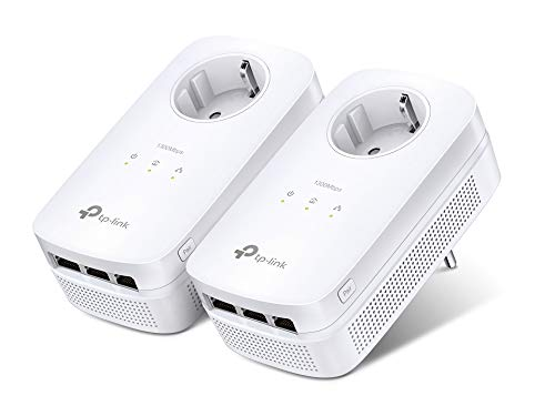 TP-Link TL-PA8030P KIT Powerline Passthrough Adapter (1300Mbit/s Steckdose Powerline, 3x Gigabit Port, 2*2-MIMO, Plug & Play, energiesparend, kompatibel zu allen gängigen Powerline Adaptern) weiß