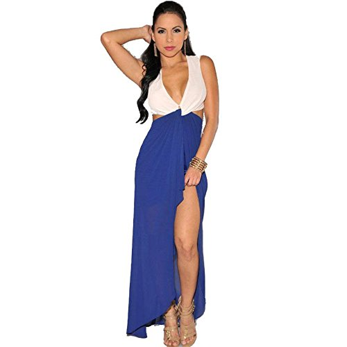 PU&PU Women's Party/Cocktail Club Asymmetrical Open Back Maxi Dress,Deep V Patchwork Sleeveless summer blue