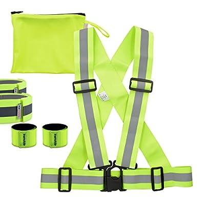 kwmobile Sicherheit Set - Warnweste, 2x Reflektorarmband, 2x Reflektor Schnapparmband in Neon Gelb - Hohe Sicherheit Universal Warnweste für Reiten, Laufen, Joggen, Fahrrad