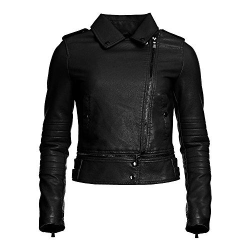 Mayaadi Damen Biker-Jacke in Leder-Optik modische kurze Übergangsjacke 5A705 Schwarz M