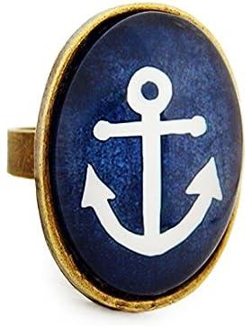 Miss Lovie Damen Mädchen Modeschmuck Schmuck Vintage Anker Maritim Ring Verstellbar Blau - 25x18mm Cabochon Bronze