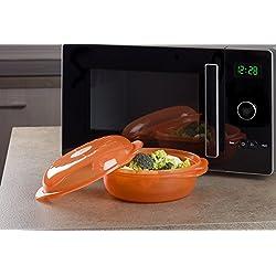 Wpro STM004 Plat Vapeur Rond Easycook 1,5 L pour Fours Micro-Onde - Orange