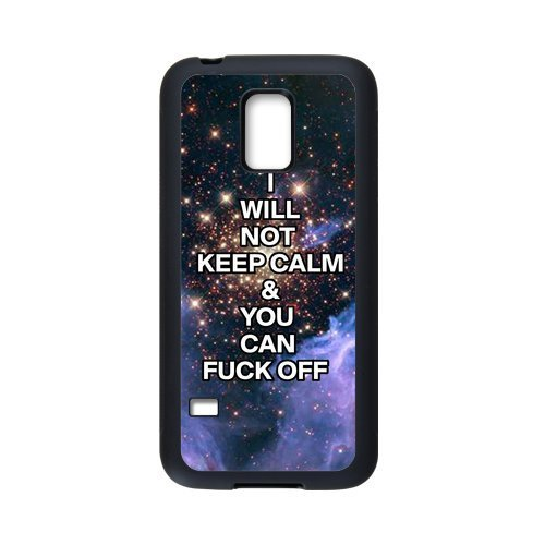 """COOL phone case,For black Plastic and TPU Samsung Galaxy S5 mini case with Keep Calm Series """"I Will not Keep Calm and You Can Fuck Off"""" Pattern at Run horse store"""