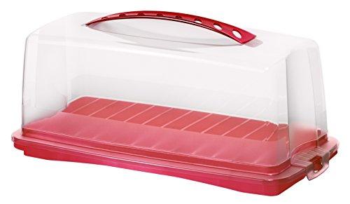 rotho 1722502039 Kuchenbehälter Kuchenbutler rechteckig Fresh aus Kunststoff mit sicherem Verschluss und bequemem Tragegriff, circa 36 x 16,5 x 16,5 cm, rot/transparent