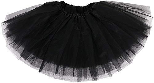 Ksnrang Damen Tütü Rock Minirock 3 Lagen Petticoat Tanzkleid Dehnbaren Mini Skater Rock Erwachsene Ballettrock für Party Halloween Kostüme Tanzen (Schwarz) (Schwarze Halloween-kostüme Frauen)