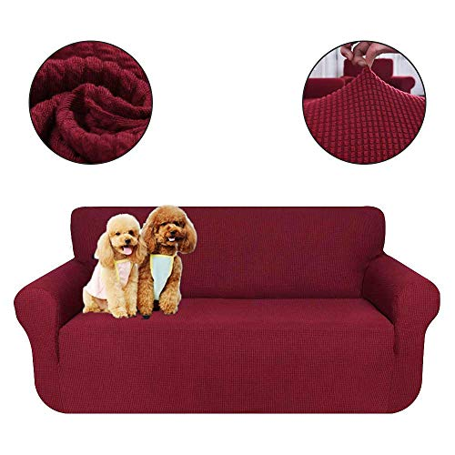 KOBWA Sofa Cover, Slipcover Sofa Covers Furniture Protector Slip Resistance Super Stretch Wear Resistant Dust Cover (Solid Color)