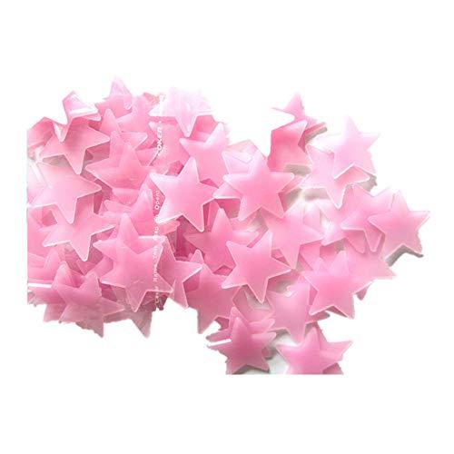 FORH 100PC Dunklen Stern Kinder Schlafzimmer Fluoreszierende Leuchten dunklen Sternen Leuchtende Wand Aufkleber Kinder Zimmerausstattung 3D Spiegel Wandaufkleber (Rosa)