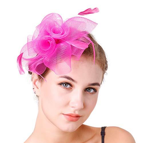 Damen Fascinators Hut Feder Stirnband Teeparty Cocktail Haarspange, -