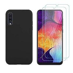 ANCASE Handyhülle kompatibel mit Samsung Galaxy A50 Hülle Panzerglas, Schutzfolie Displayschutzfolie + Silikon Schutzhülle Case Cover für Samsung Galaxy A50 - Schwarz