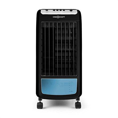 OneConcept Caribbean Blue • Ventilateur • Rafraichisseur d'air • Humidificateur • Purificateur d'air • 3 Vitesses • 2 Packs frigorifiques • Réservoir 4 litres • Consommation 70W • Noir/Bleu