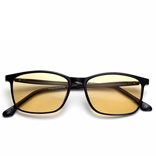 Patent Melanin! Viscare TR90 Rahmen Anti-Blaues Licht Gaming Gamer Computer Brille Herren Damen, Gelb Linse Brille gegen Augenmüdigkeit, Kopfschmerzen, Anstrengung der Augen, Arbeitsplatzbrille (Black)