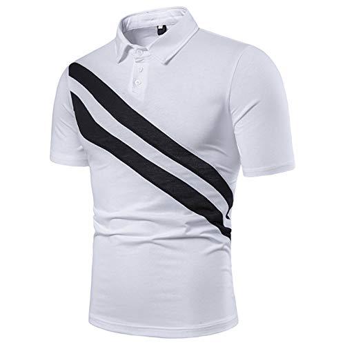 Herren Kurzschluss Floral Gedruckt Freizeit und Mode Polo Shirt(L,weiß)