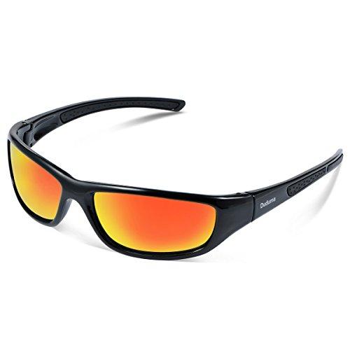 Duduma Lunettes de Soleil Polarisées Sports pour Ski Conduite Golf Course Cyclisme Conception du Cadre Tr8116 Super Léger pour Hommes et Femmes (cadre noir avec lentille rouge)