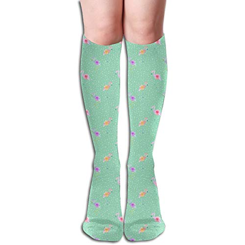 Women's Fancy Design Stocking Indy Bloom Design Flamingo Dot Teal Multi Colorful Patterned Knee High Socks 50cm(19.6Inchs) - Dobby Dot