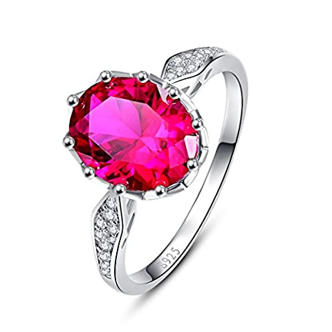 Bonlavie 2.5Ct Oval Cut Created Red Ruby Solid 925 Sterling Silver Engagement Ring Size L 1/2