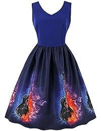 002fbba9e37 Wellwits Women s Tie Dye Galaxy Starry Night Butterfly Vintage Music Note  Dress