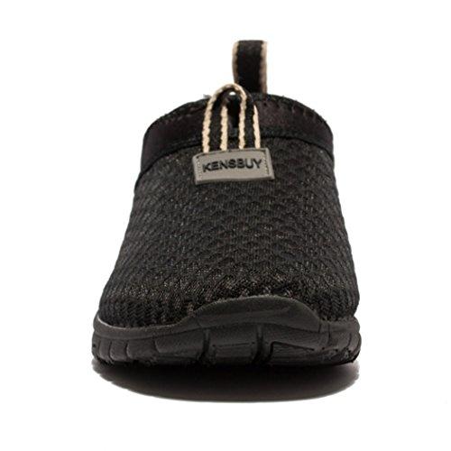 daillor Chaussures de maille à enfiler pour homme et femme, ultra léger respirant Chaussures de Course Allblack