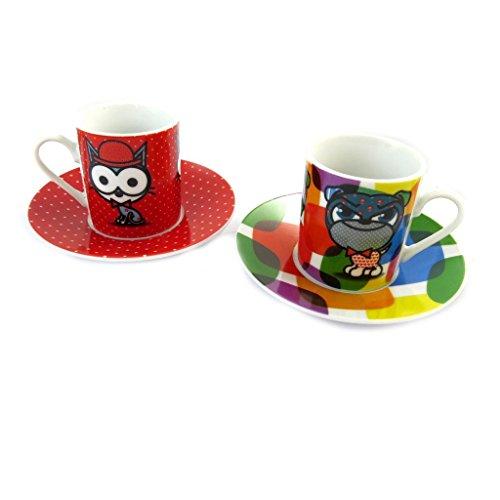 Box 2 tazze di caffè 'Chien Et Chat Lolita'ruota multicolore.