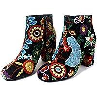 Con botines de estilo popular con flores bordadas gruesas redondas con áspero con botas, negro, 39 EU