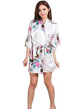 ALJL Camisón de Las Señoras Imitación de Seda única Kimono Suelto Albornoz Cárdigan Corto Párrafo Albornoz Cómodo...