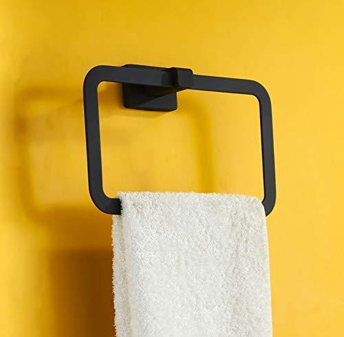 QWR Badezimmer Punch-Free Full Black Square High-End Handtuchring American Handtuchhalter Badezimmer -