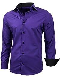 3cd0c51f228 Baxboy Hombre de Camisa fácil de Planchar de Slim Fit para Traje