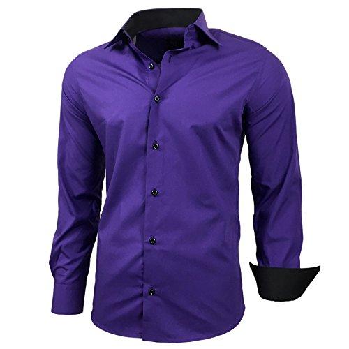 Kontrast Business Anzug Freizeit Polo Slim Fit Figurbetont Hemd Langarmhemd R-44, Farbe:Lila;Größe:6XL