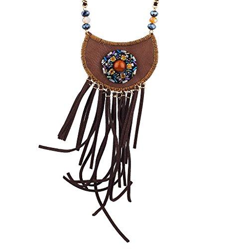 Verziert Faux Pelz (LUX Zubehör verziert Blume Boho Tasche Halskette)