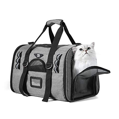 NOBLE DUCK Hundebox Faltbar Katzenbox Transportbox Auto Fluggesellschaft Genehmigt Transporttasche für Haustiere mit Zwei Vlies-Matten Grau