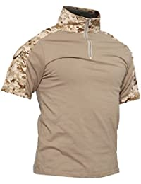 b3c20ea3c3ee TACVASEN Camicia Militare Uomo Manica Corta Cotone Airsoft Outdoor Shirt  Camo Desert