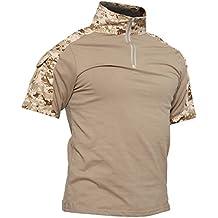 TACVASEN Camicia Militare Uomo Manica Corta Cotone Airsoft Outdoor Shirt Camo Desert