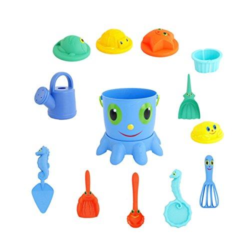(TOYMYTOY 14pcs Strand Spielzeug Octopus Eimer Kinder Spielzeug Strand Sandbox Spielset Meer Sand Spielzeug Kind Wasser Spielzeug mit Schaufel Rake Eimer Sifter Tier Formen Gießkanne)