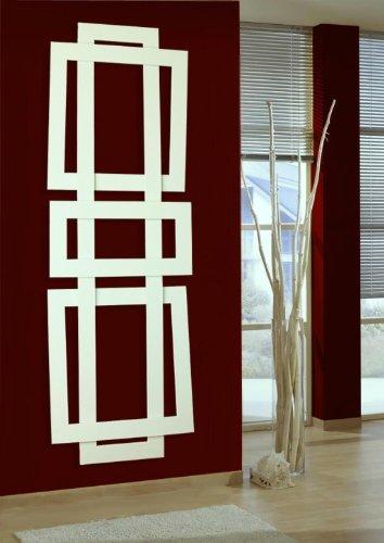 Badheizkörper Design ART II, HxB: 180 x 60 cm, 1019 Watt, weiß (Marke: Szagato) Made in Germany/exklusiver Bad und Wohnraum-Heizkörper (Mittelanschluss)