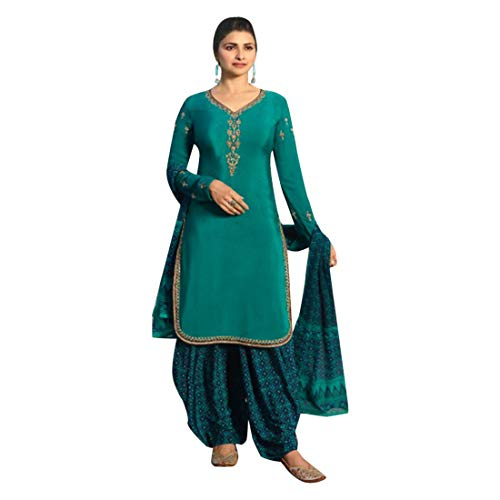 ETHNIC EMPORIUM SkyBlue Indische Bollywood Punjabi Salwar Shalwar Patiyala Patiala Hosen Traditionelle Salwar Kameez Kamiz Frauen Kleid Damen Girl hochzet 7489 Patiala Suit