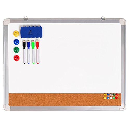 Whiteboard Pinnwand Set - Magnettafel/Korkwand 60 x 45 cm + 1 magnetischer Radierer, 4 bunte Marker, 4 Magneten und 10 Reißnägel - Kleine Kombitafel Whiteboard Korkpinnwand