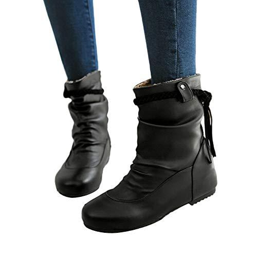 MYMYG Frauen Runde Zehe Schuhe PU Leder Quaste Zehe runder Kopfhang weiche Oberfläche Anti-Rutsch-Flechtgürtel Stiefel Lederschuhe Stylische Schnalle Winter Herbst warme