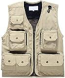 Herren Multi Tasche Jacke Jagd / Fischerei / Fotografie Bequeme Größen / Arbeit Fliegen Fischen Weste Ärmellos V-Ausschnitt Vintage Mode Outdoor Outwear Mantel Kleidung ( Color : Beige , Size : XL )