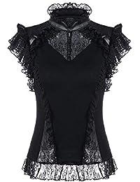 7e6feb7ad88a42 RQ-BL Viktorianische Kurzarm-Bluse Schwarz mit Kunstleder und Spitze  (21223) Gothic