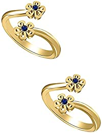 Araska Diamond 0.04 Ct Round Cut Blue Sapphire 14K Yellow Gold Finish Flower Shape Toe Ring