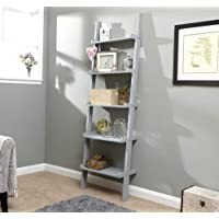 Home Source 5 Shelf Ladder Bookcase Decorative Ornament Stand Modern Wooden
