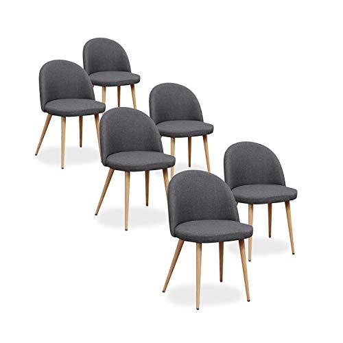 Lot Cecilia scandinaves Tissu Gris 6 INTENSEDECO de chaises E9IWD2HY