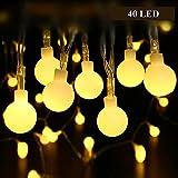LED Lichterkette Batterie, ECOWHO 4,5M 40 LEDs Wasserdicht Kugel Lichterkette Weihnachten Dekorative Lichterketten für Zimmer, Party, Garten, Hochzeit (Warmweiß)