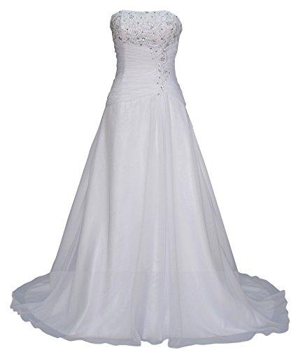 Romantic-Fashion Brautkleid Hochzeitskleid Weiß Modell W074 A-Linie Lang Satin Trägerlos Perlen Pailletten DE Größe 44 (Satin Perlen Rock)