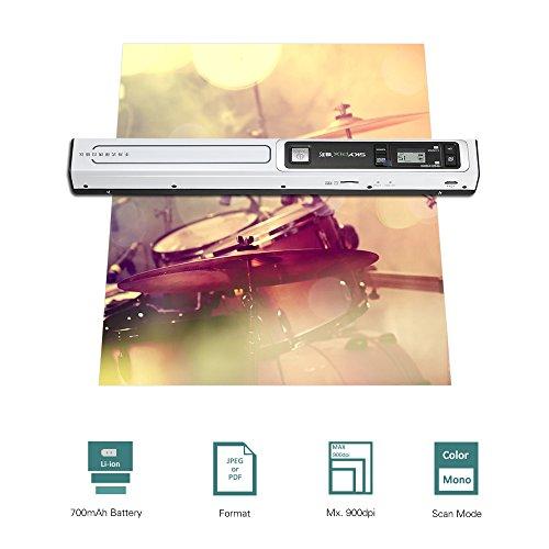 aibecy Farbe Notebook 900DPI Akku Hand-Scanner Notebook mit Tasche Schutz für das Buch von Fotos von Dokumenten