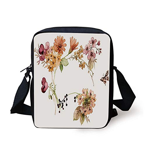 Rustic Home Decor,Flower Bouquet in Watercolors Gerbera Daffodil Poppy Daisy Composition,Multicolor Print Kids Crossbody Messenger Bag Purse